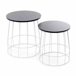 set 2 side tables blue/black