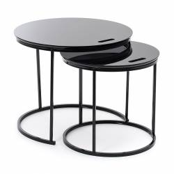 set 2 side tables George black